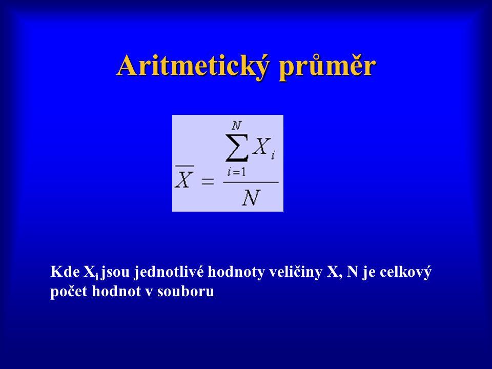 Aritmetický průměr Kde Xi jsou jednotlivé hodnoty veličiny X, N je celkový počet hodnot v souboru