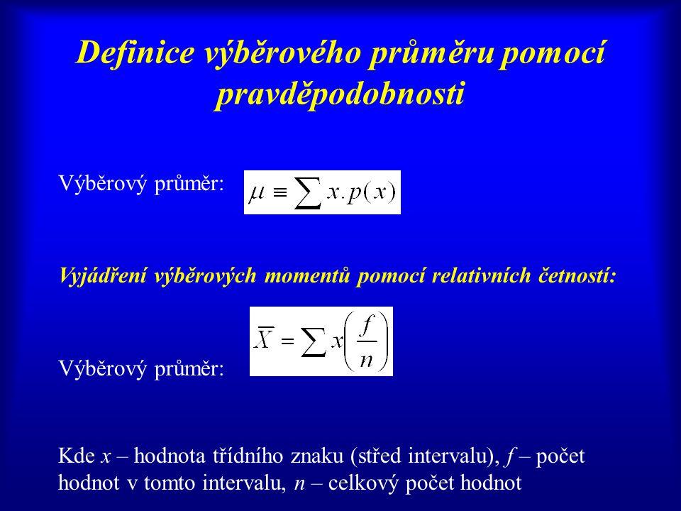 Definice výběrového průměru pomocí pravděpodobnosti