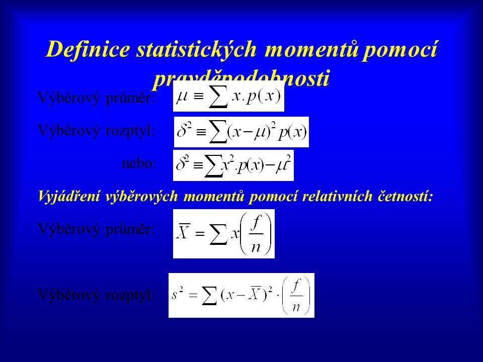 Definice statistických momentů pomocí pravděpodobnosti