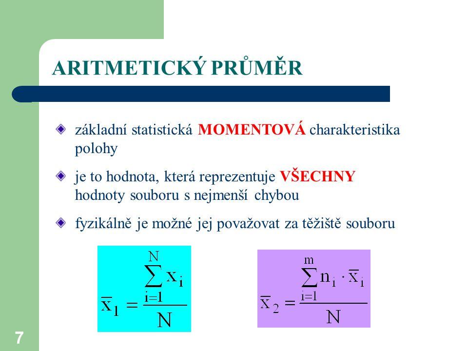 ARITMETICKÝ PRŮMĚR základní statistická MOMENTOVÁ charakteristika polohy.