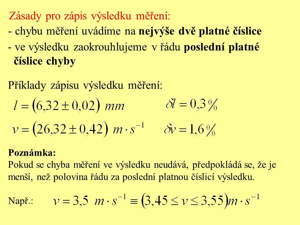 Zásady pro zápis výsledku měření: