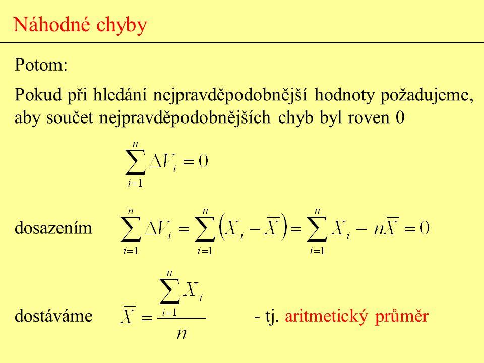 Náhodné chyby Potom: Pokud při hledání nejpravděpodobnější hodnoty požadujeme, aby součet nejpravděpodobnějších chyb byl roven 0.