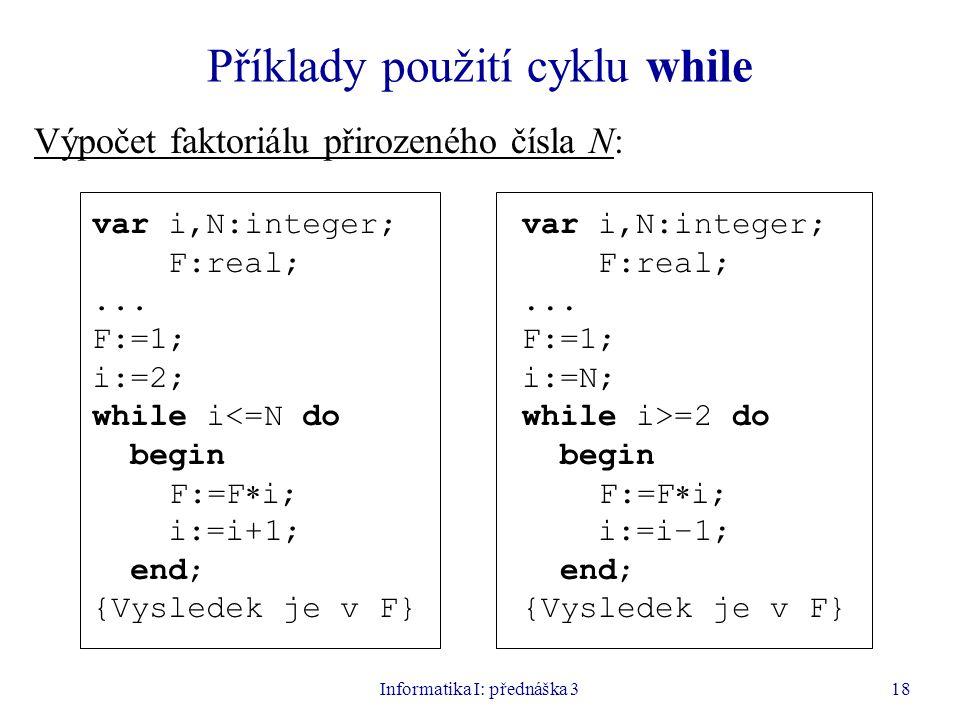 Příklady použití cyklu while