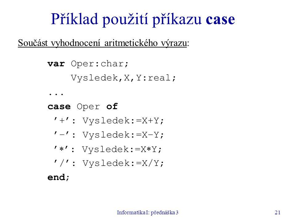 Příklad použití příkazu case