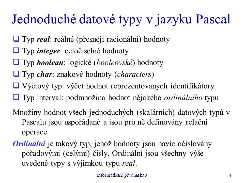 Jednoduché datové typy v jazyku Pascal