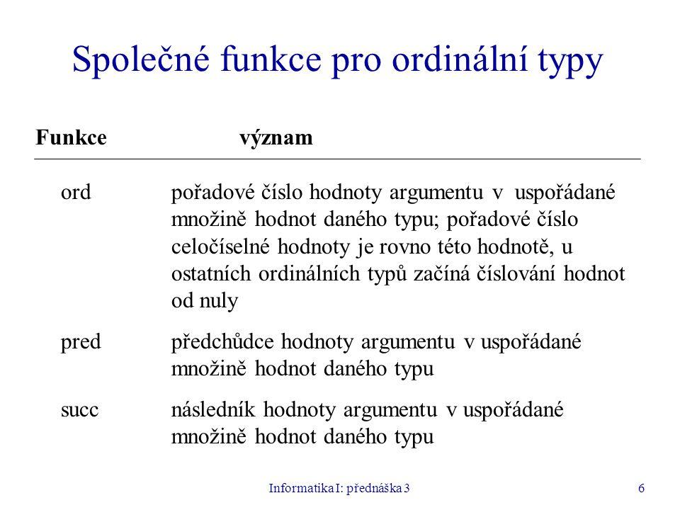 Společné funkce pro ordinální typy