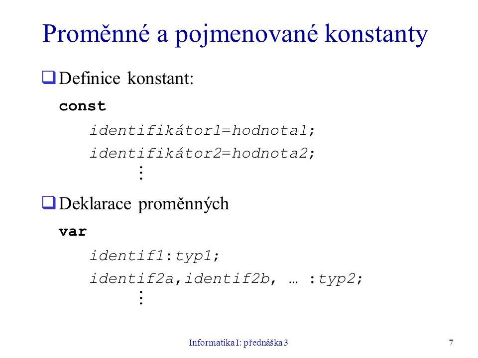 Proměnné a pojmenované konstanty