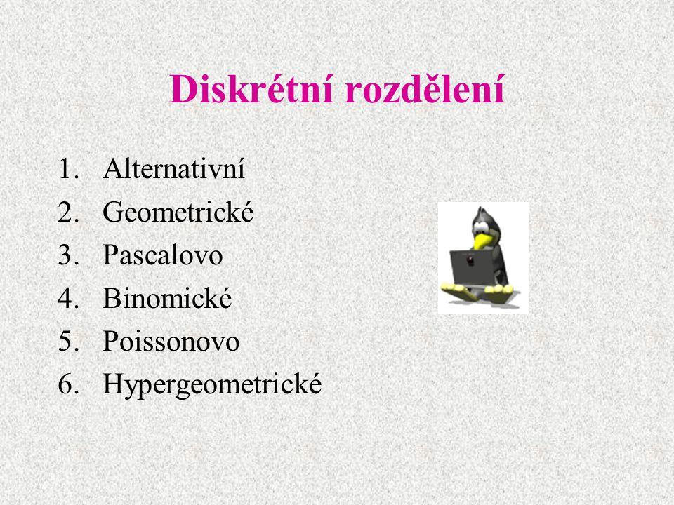 Diskrétní rozdělení Alternativní Geometrické Pascalovo Binomické