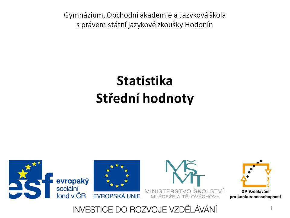 Statistika Střední hodnoty