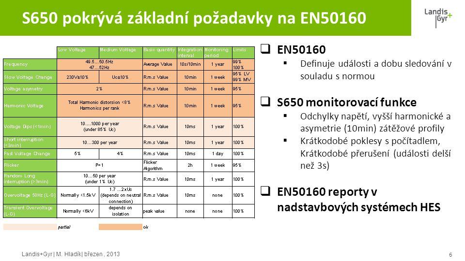 S650 pokrývá základní požadavky na EN50160