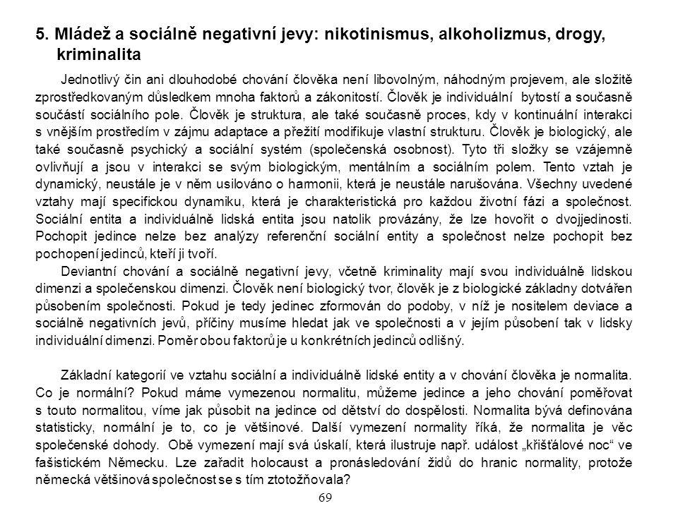 5. Mládež a sociálně negativní jevy: nikotinismus, alkoholizmus, drogy, kriminalita