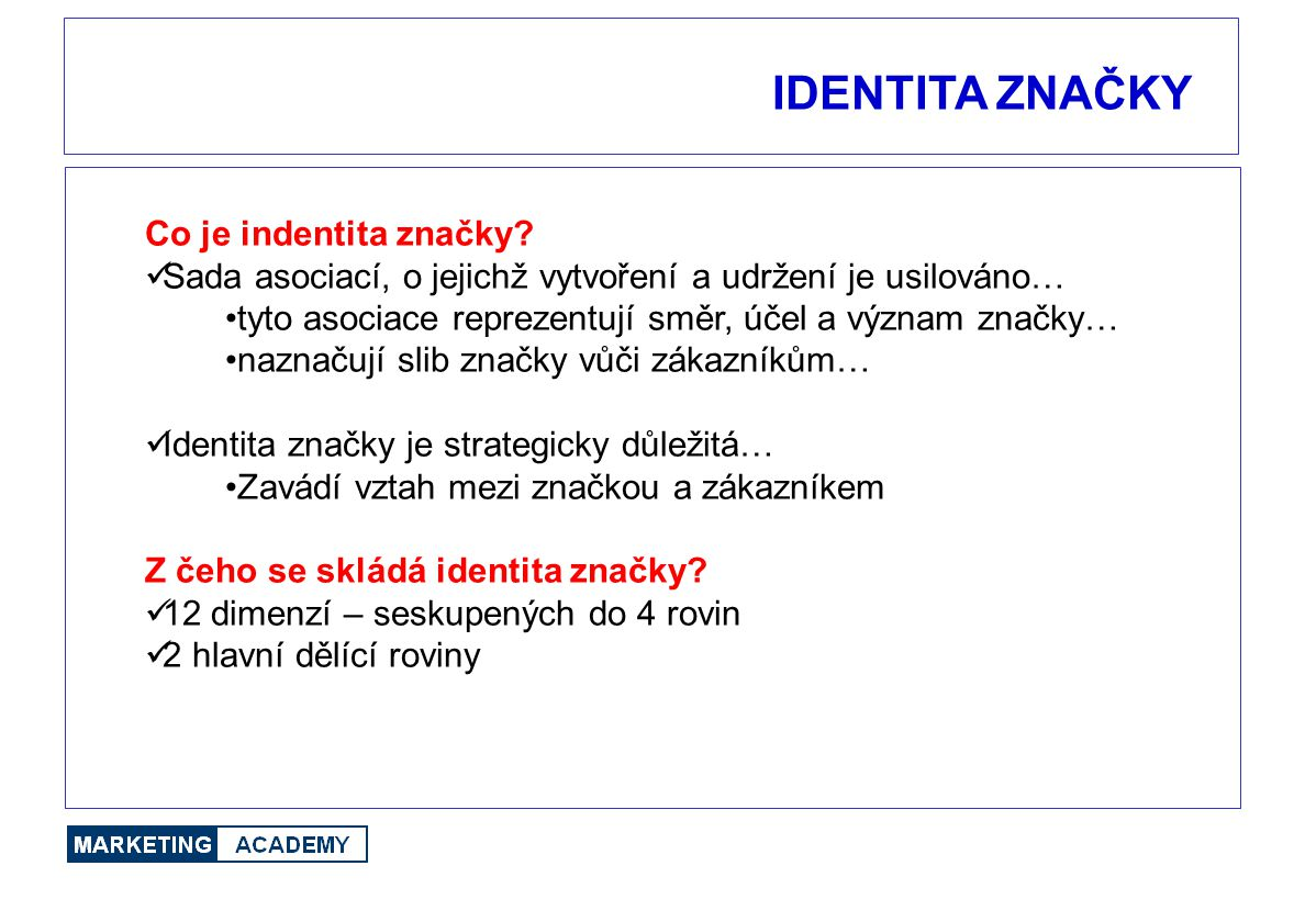 IDENTITA ZNAČKY Co je indentita značky