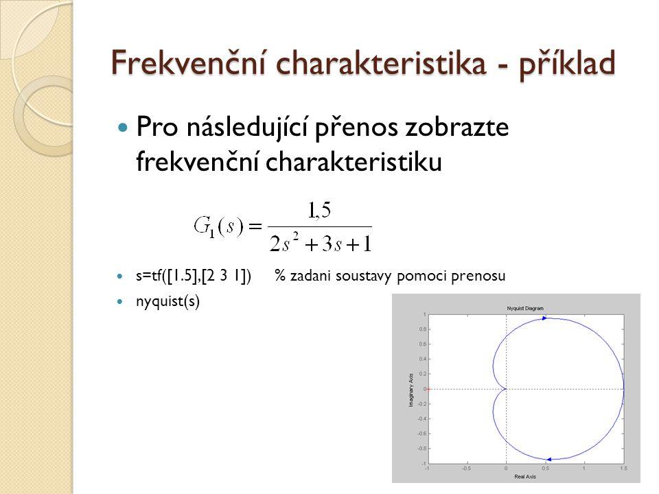 Frekvenční charakteristika - příklad