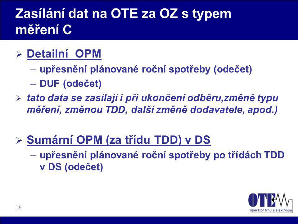 Zasílání dat na OTE za OZ s typem měření C