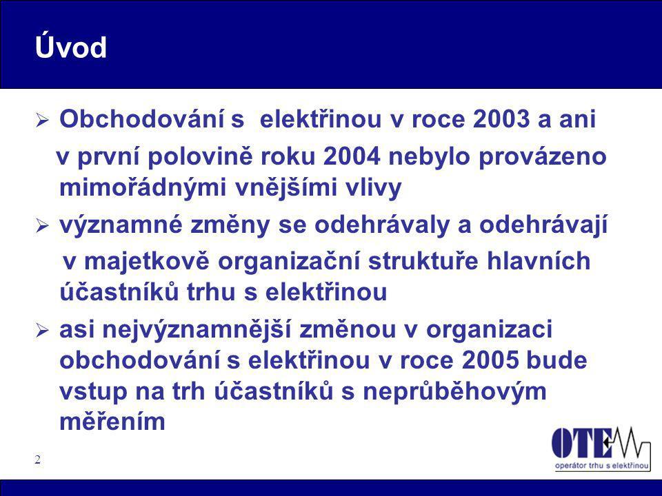 Úvod Obchodování s elektřinou v roce 2003 a ani