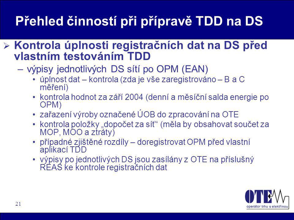 Přehled činností při přípravě TDD na DS
