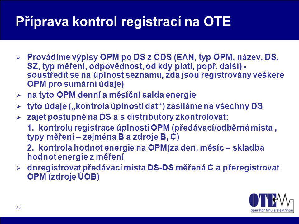 Příprava kontrol registrací na OTE