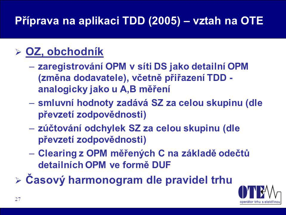 Příprava na aplikaci TDD (2005) – vztah na OTE