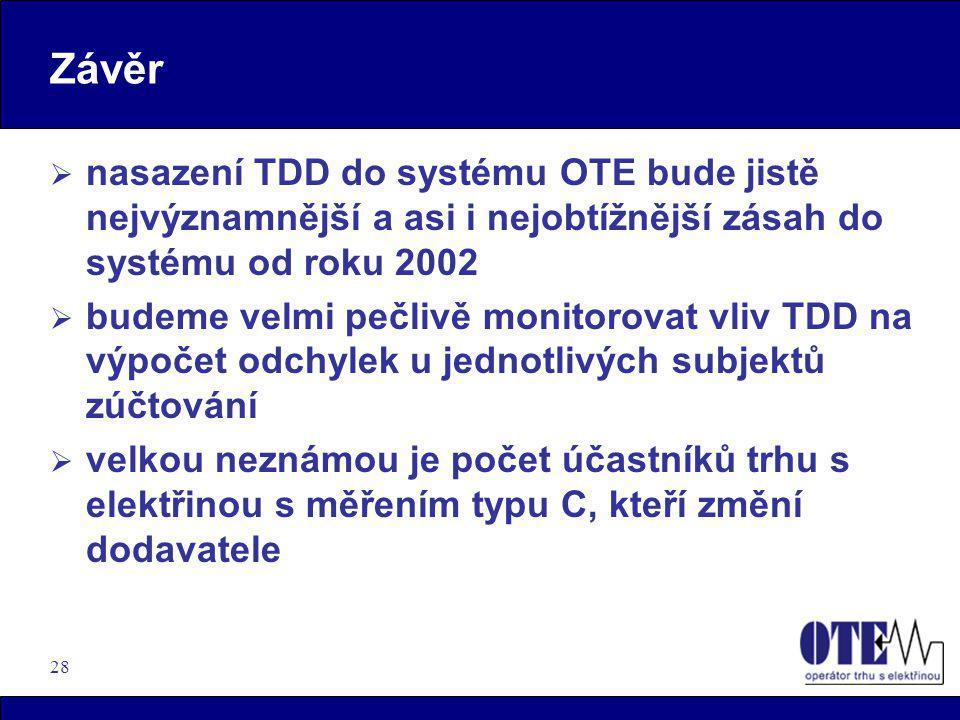 Závěr nasazení TDD do systému OTE bude jistě nejvýznamnější a asi i nejobtížnější zásah do systému od roku 2002.