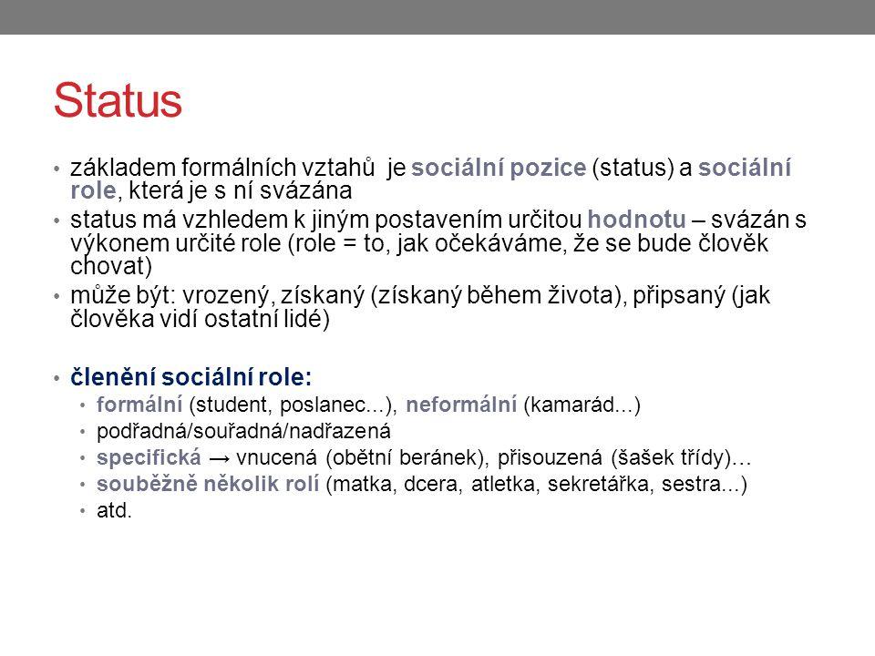 Status základem formálních vztahů je sociální pozice (status) a sociální role, která je s ní svázána.
