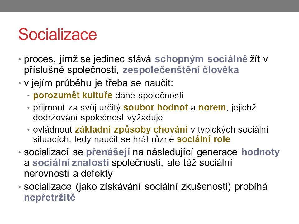 Socializace proces, jímž se jedinec stává schopným sociálně žít v příslušné společnosti, zespolečenštění člověka.