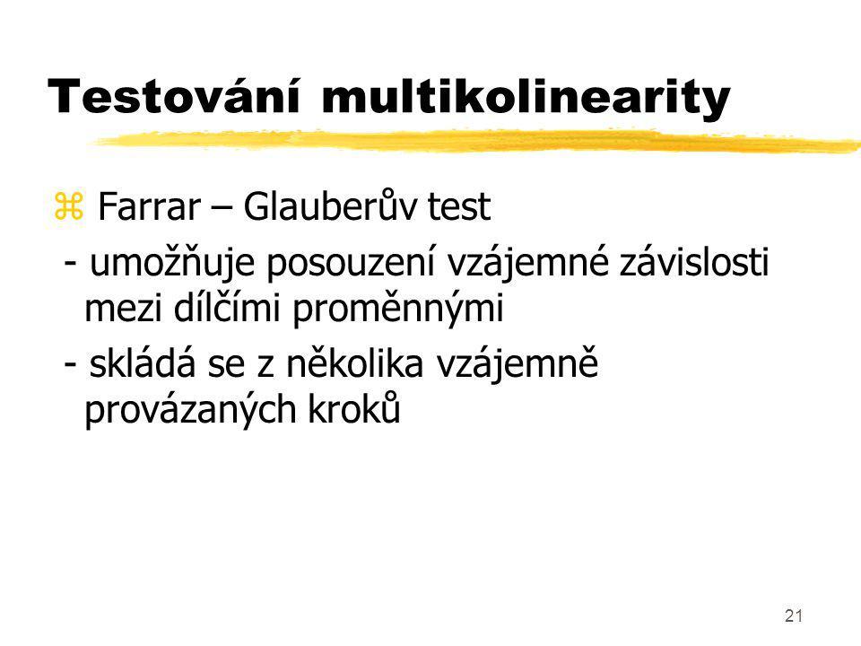 Testování multikolinearity