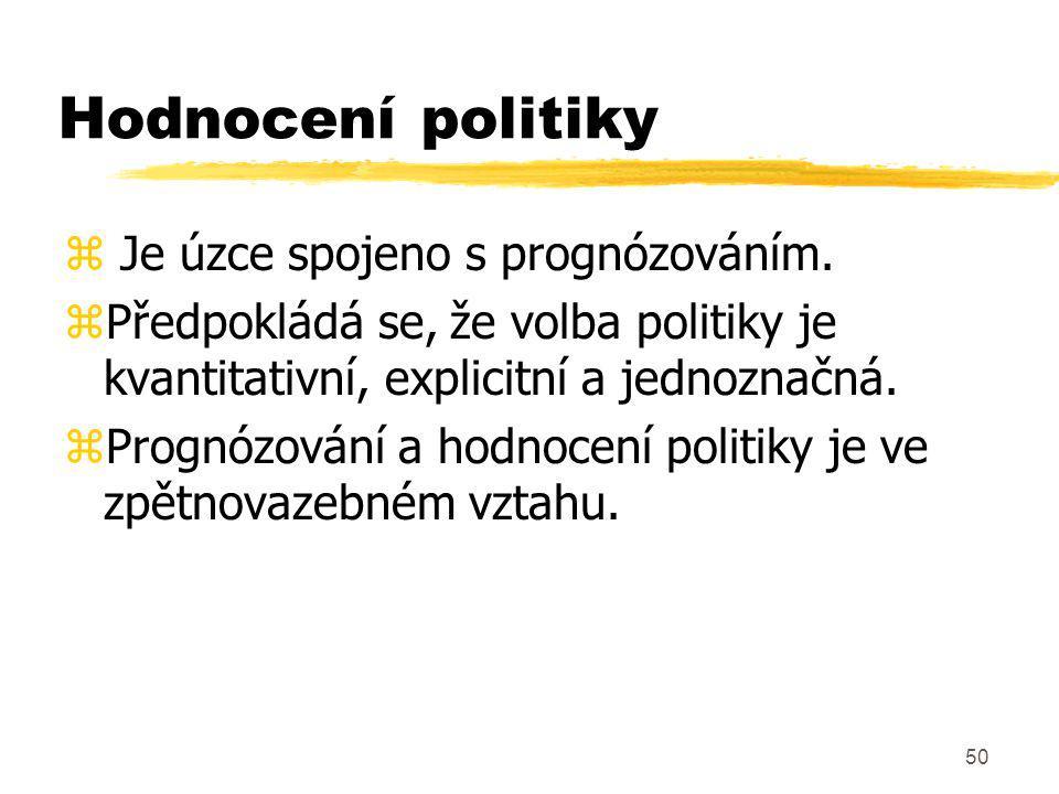 Hodnocení politiky Je úzce spojeno s prognózováním.