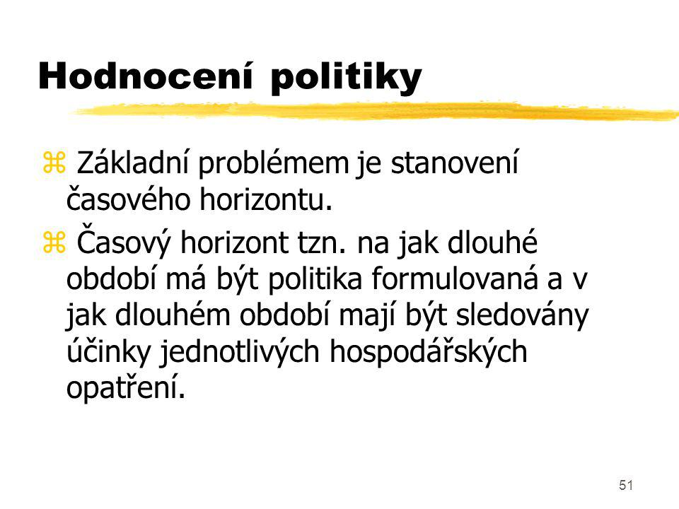 Hodnocení politiky Základní problémem je stanovení časového horizontu.
