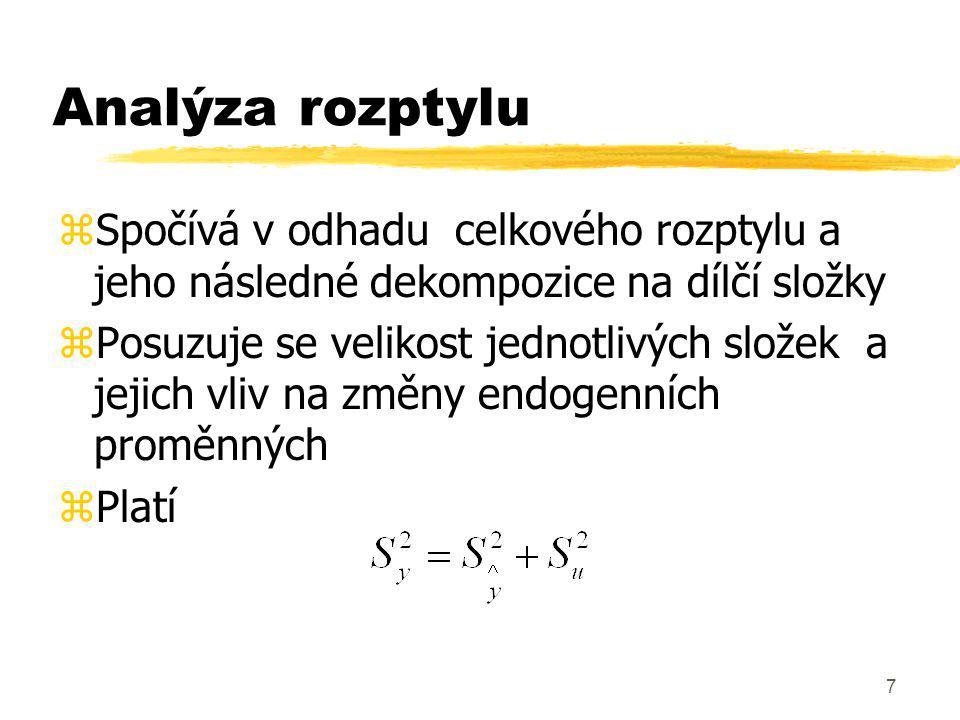 Analýza rozptylu Spočívá v odhadu celkového rozptylu a jeho následné dekompozice na dílčí složky.
