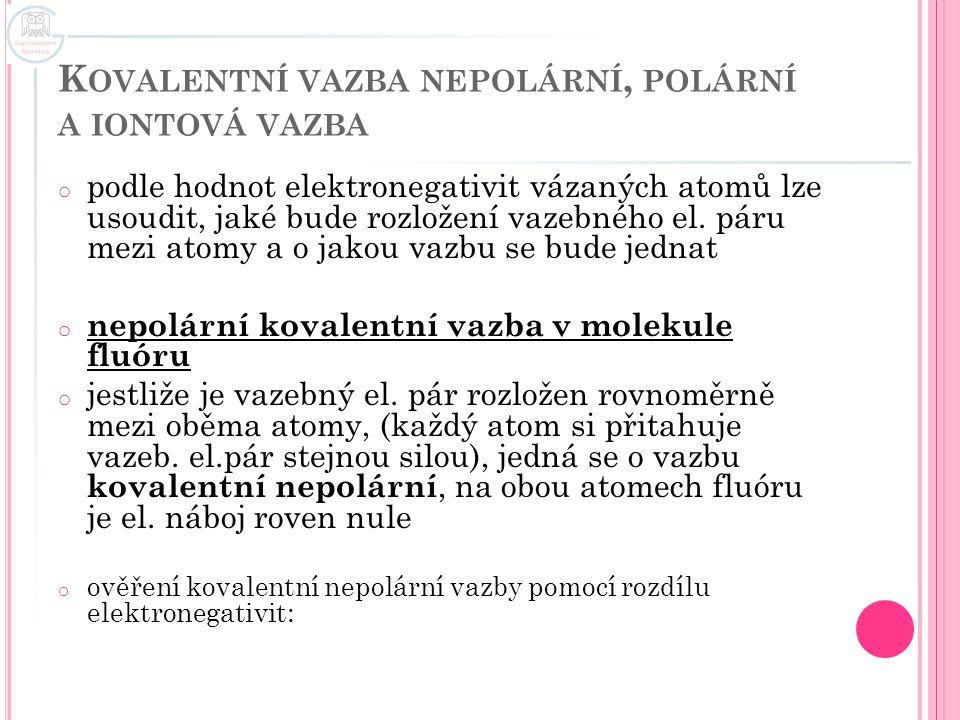 Kovalentní vazba nepolární, polární a iontová vazba