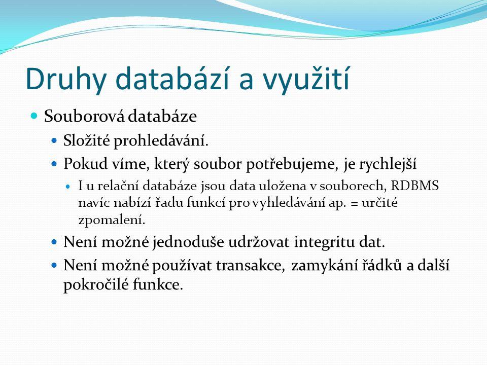 Druhy databází a využití