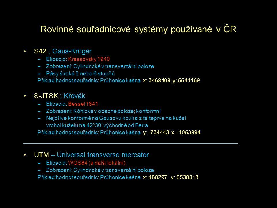 Rovinné souřadnicové systémy používané v ČR