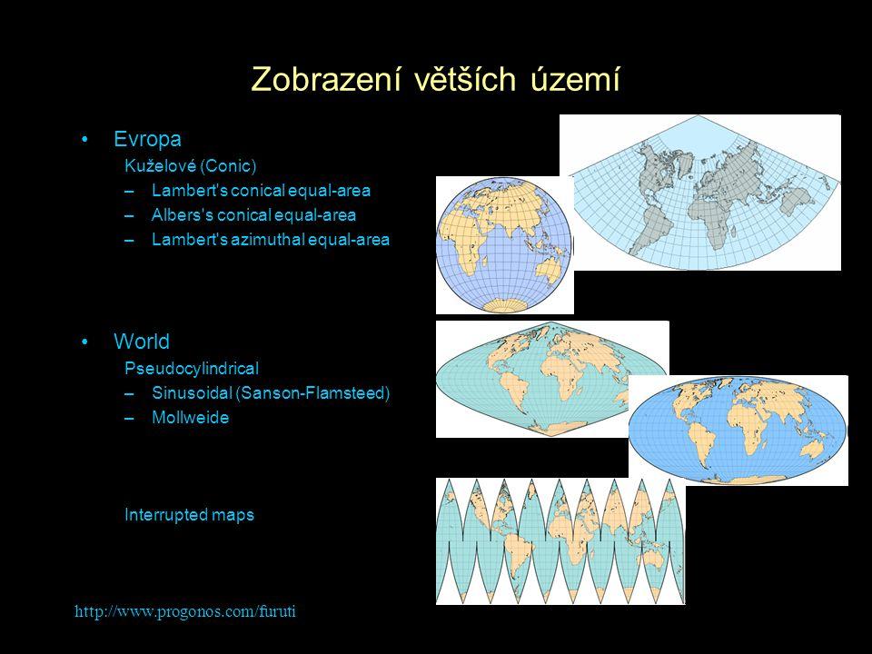 Zobrazení větších území