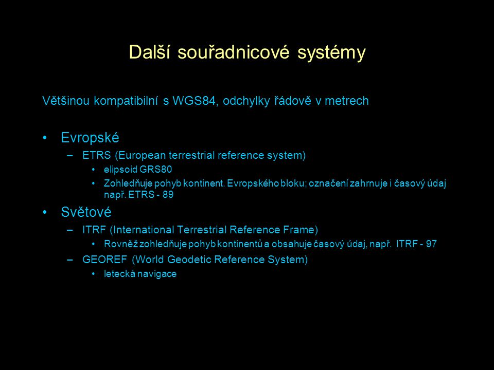 Další souřadnicové systémy