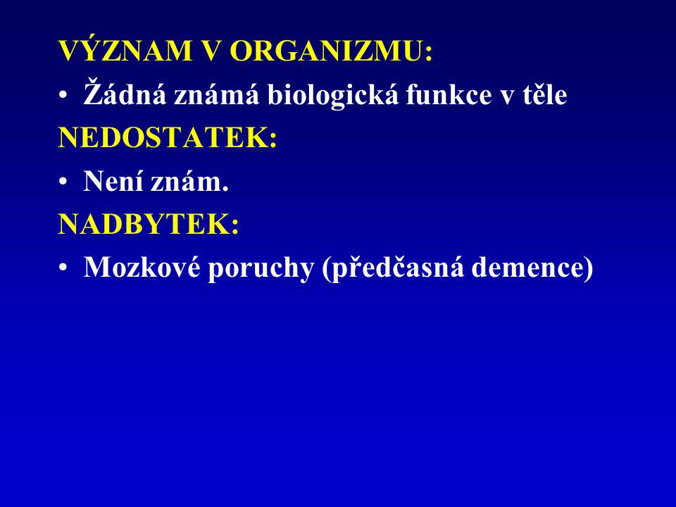 VÝZNAM V ORGANIZMU: Žádná známá biologická funkce v těle.