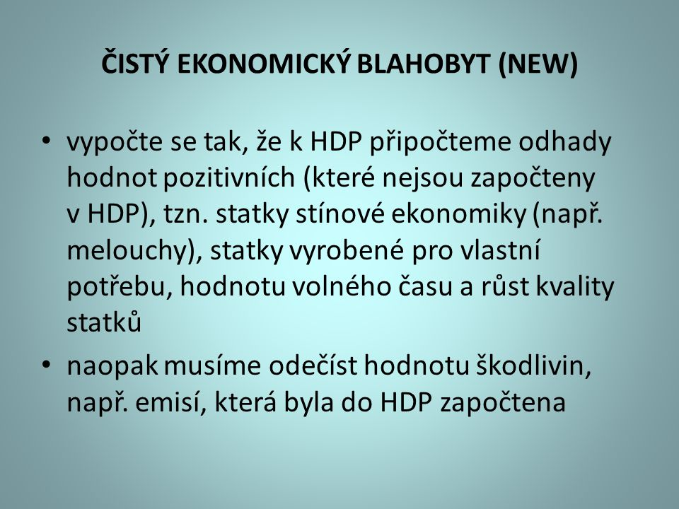 ČISTÝ EKONOMICKÝ BLAHOBYT (NEW)