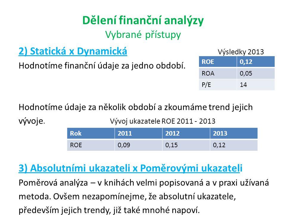 Dělení finanční analýzy Vybrané přístupy