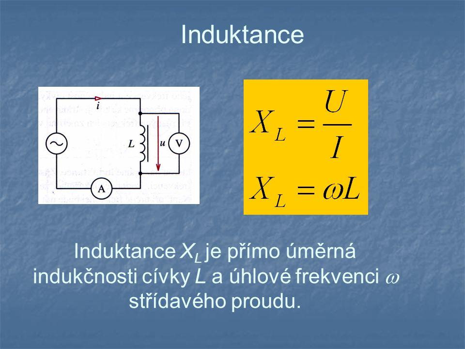 Induktance Induktance XL je přímo úměrná indukčnosti cívky L a úhlové frekvenci  střídavého proudu.
