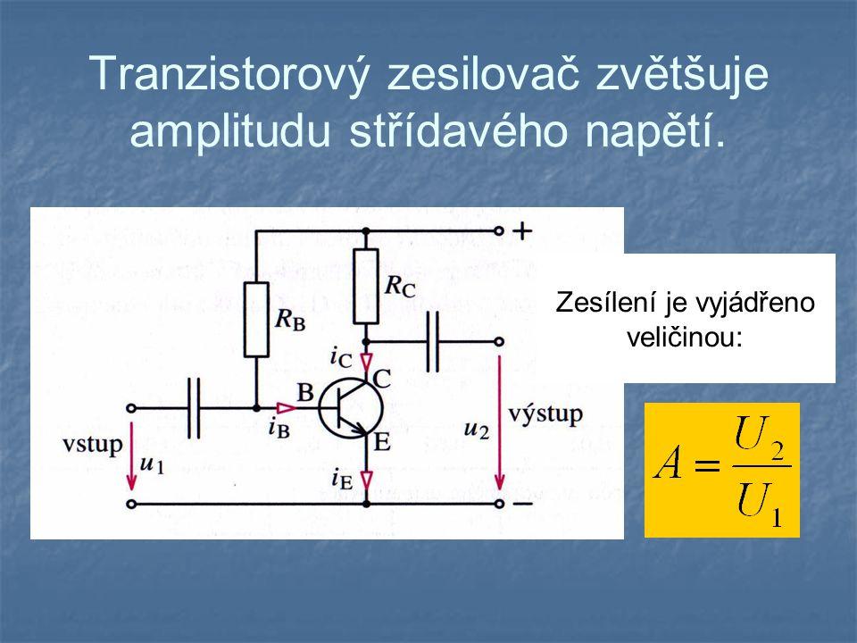 Tranzistorový zesilovač zvětšuje amplitudu střídavého napětí.