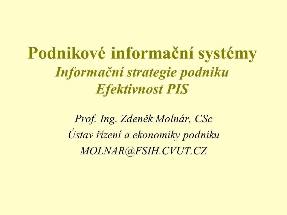 Podnikové informační systémy Informační strategie podniku Efektivnost PIS