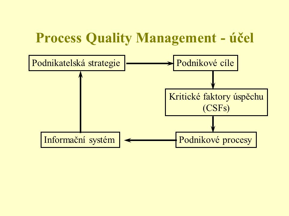 Process Quality Management - účel