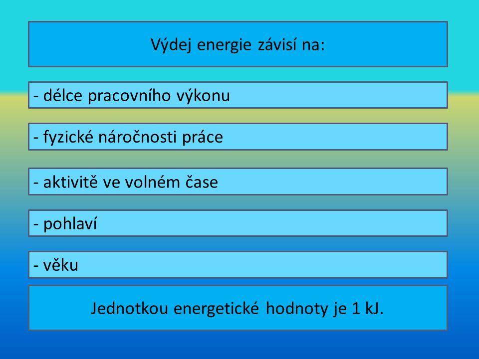 Výdej energie závisí na: