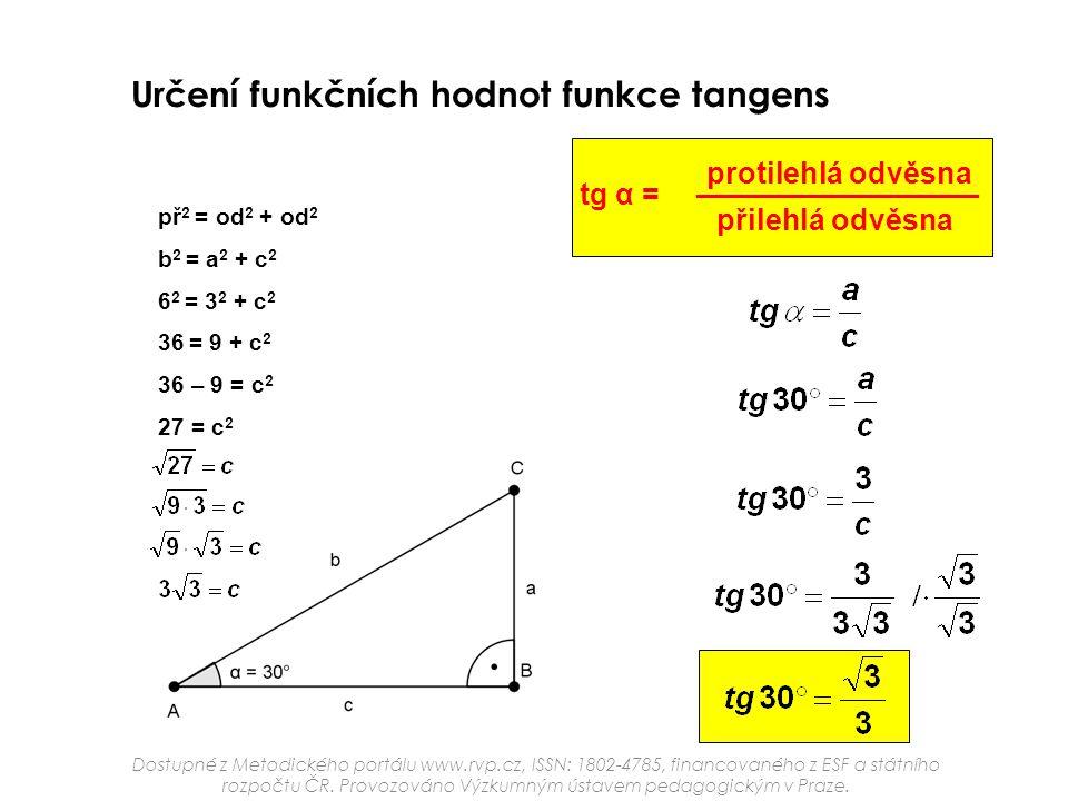 Určení funkčních hodnot funkce tangens