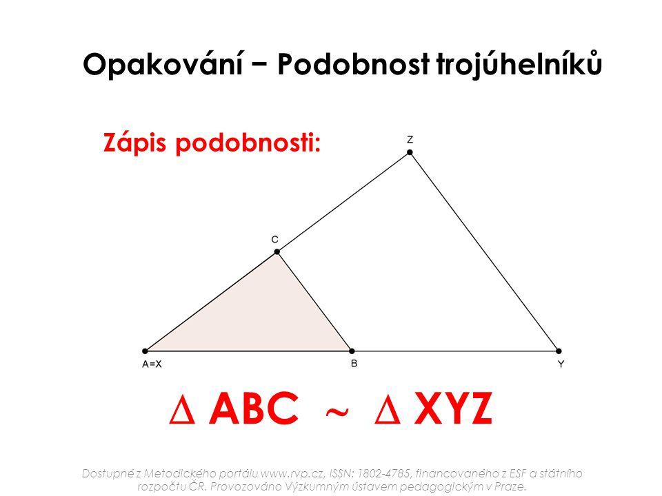 Opakování − Podobnost trojúhelníků