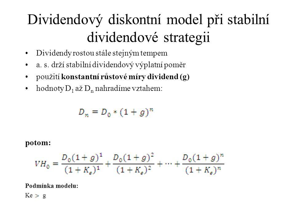 Dividendový diskontní model při stabilní dividendové strategii