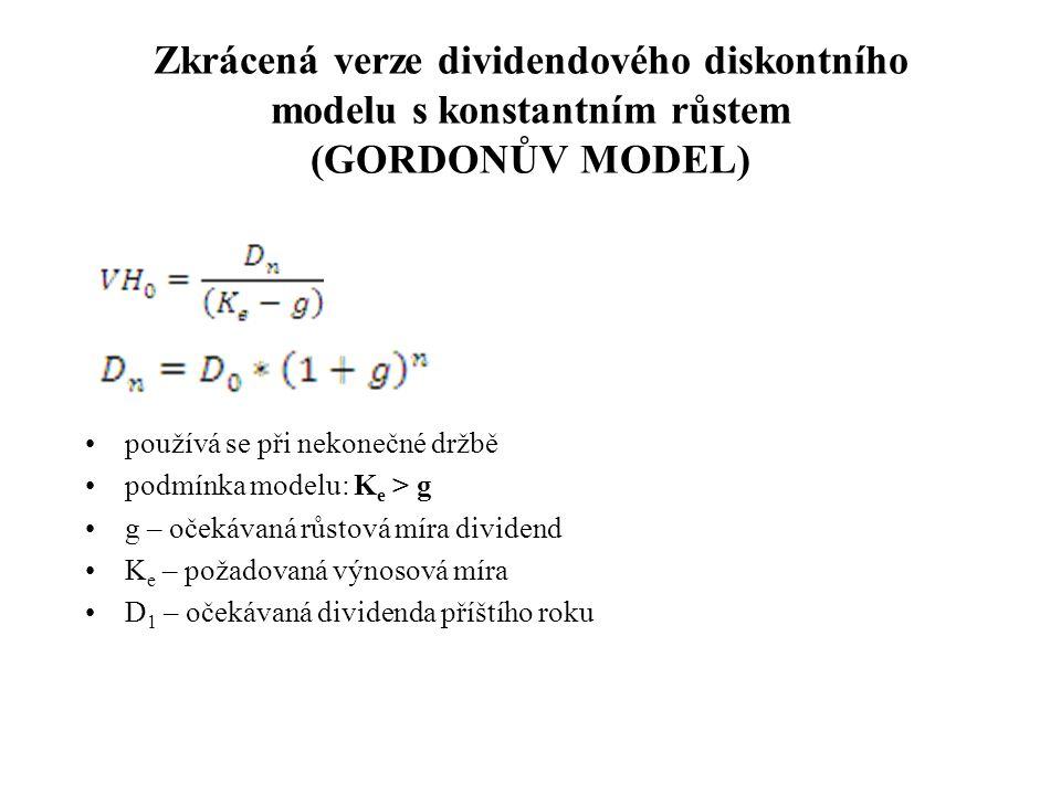 Zkrácená verze dividendového diskontního modelu s konstantním růstem (GORDONŮV MODEL)