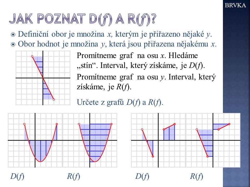 BRVKA Jak poznat D(f) a R(f) Definiční obor je množina x, kterým je přiřazeno nějaké y. Obor hodnot je množina y, která jsou přiřazena nějakému x.