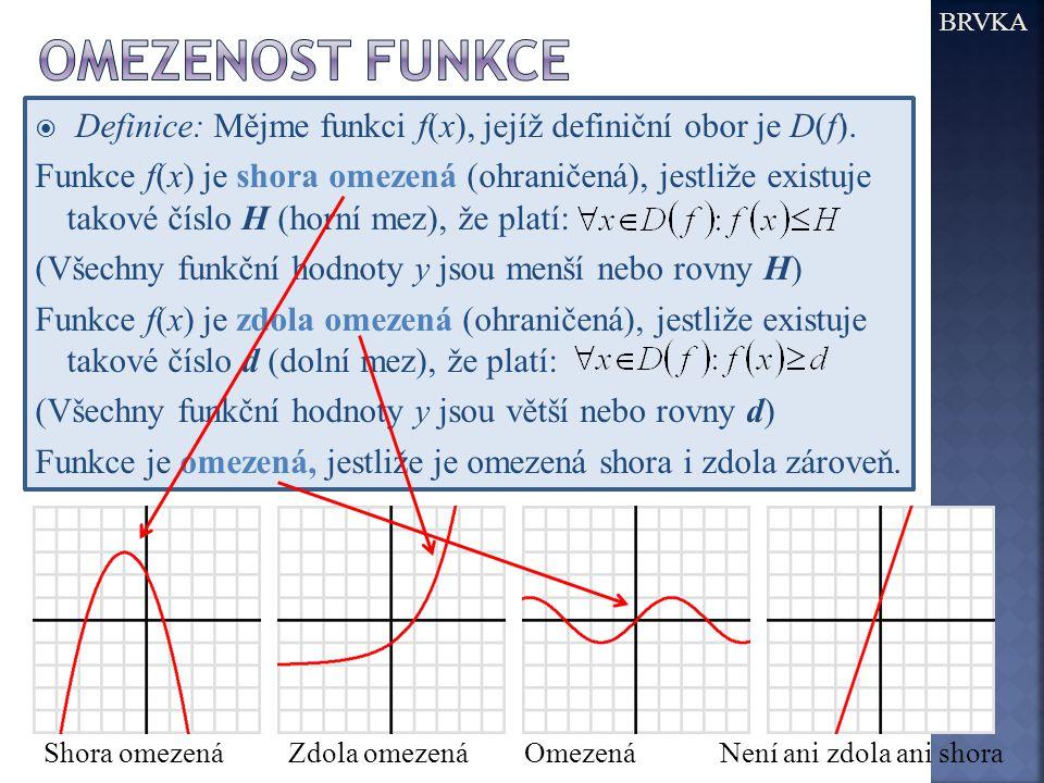 BRVKA Omezenost funkce. Definice: Mějme funkci f(x), jejíž definiční obor je D(f).