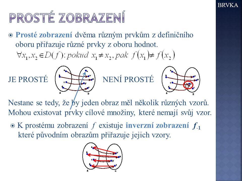 BRVKA PROSTÉ Zobrazení. Prosté zobrazení dvěma různým prvkům z definičního oboru přiřazuje různé prvky z oboru hodnot.