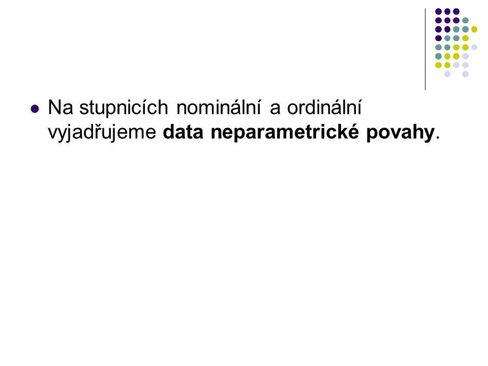 Na stupnicích nominální a ordinální vyjadřujeme data neparametrické povahy.